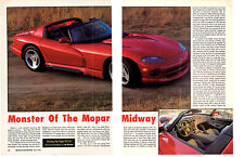 1992 CHRYSLER VIPER RT/10   ~  GREAT 6-PAGE ARTICLE / AD