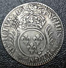 1694 FRANCE - 1/2 ECU (30 SOLS) - SILVER - OVER STRUCK on 1690 1/2 ECU