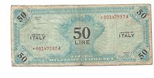 Italy Series 1943 Forbes 50 Lire Pick 14a Replacement VG or so Just Wear  RARE