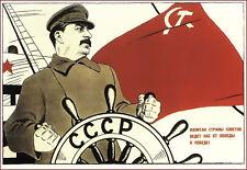 Russian 1933 Joseph Stalin iSoviet  Propaganda  Recuiting  Russia  Poster Print