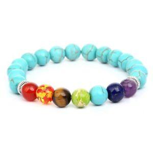 Energy Reiki Healing Beaded Charm Natural Stones 7 Chakra Bracelet Charm Jewelry