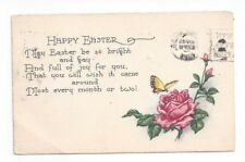 Antique 1921 Easter Post Card Yellow Butterfly and Pink Rose
