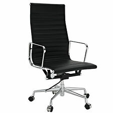 Ribbed High Back Executive Office Chair Reproduction Black Leather Eames