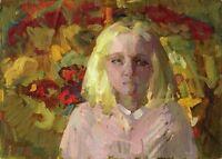 """Russischer Realist Expressionist Öl Leinwand """"Mädchen und Blumen"""" 70x50 cm"""