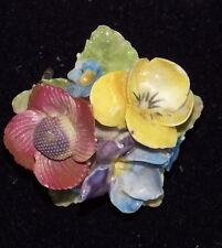VTG British Floral China  Brooch Poppy Violet Viola Forget me Not Pin England