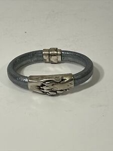 Hand and Paw Project™ Leather / Silver Bracelet 6 1/2