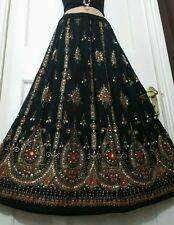 Ladies Indian Boho Hippie Long Sequin Skirt Rayon in black & orange inset color