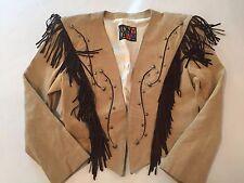 Women's TONY LAMA Tan SUEDE Brown FRINGE Silver Studded WESTERN Bolero JACKET 10