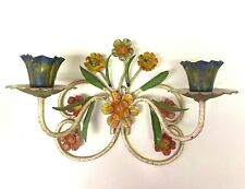 Vtg Tole Italian Toleware Metal Wall Sconce Candle Holder Flower Italy
