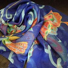 New WOMEN Blue Colorful Georgette 100% SILK LONG SCARF BUTTERFLY SHAWL WRAP