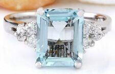 2.90 Carat Genuine Aquamarine 14K Solid White Gold Luxury Diamond Ring
