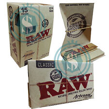 15 RAW Classic Artesano 1.25 11/4 78mm Natural Rolling Papers - Full Box