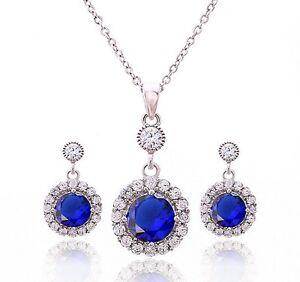 Sterling Silver Prong-set Cubic Zirconia Blue Sapphire Earrings Pendant Set P25