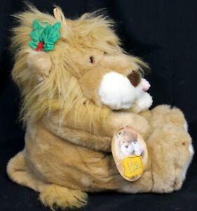 """VTG 1994 12"""" Commonwealth Toy Lion & Lamb Christmas Plush w/ Story Tag EUC"""