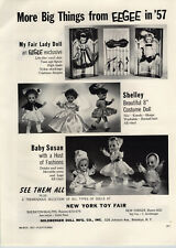 """1957 PAPER AD Eegee My Fair Lady Doll Shelley 8"""" Costume Baby Susan Toy Cannon"""
