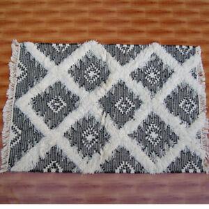 Black White Floral Wool Kilim 2.5'x3.5' ft Handmade Door Mat Rugs Floor Covering