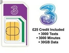 Three(3) UK Network 3 In 1 PAYG Sim Card With £25 Top Up Read  Full Desc 30GB✔