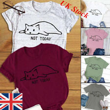 Womens Not Today T-Shirt Tops Cat Tumblr Heart Hipster Blog Tee Blouse 6 Colors