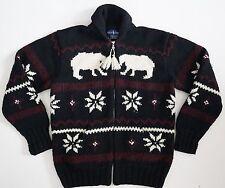 RALPH LAUREN Animal Snowflake WOOL HAND-KNITTED Full-Zip Sweater Cardigan M