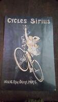 CYCLES SIRIUS Placa metalica litografiada anuncio publicidad 28x42cm replica