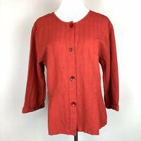 FLAX Lagenlook Button-Up Shirt with Peplum Tucks Burnt Orange Red Linen Size M