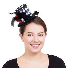 Harlequin Skull Mini Tall Hat Jester Halloween Ladies Fancy Dress Accessory