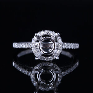 Sterling Silver 6-7mm Round Semi Mount Natural SI/H Diamonds Fine Wedding Ring