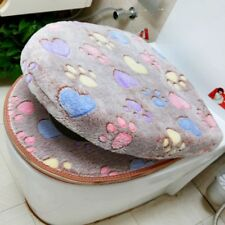 Soft Toilet Seat Cover Set Thick Coral Velvet Warm Zipper WC Case