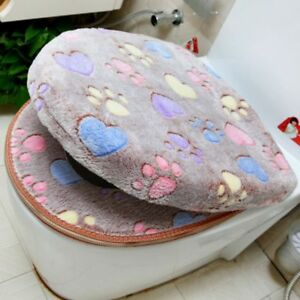 Soft Toilet Seat Cover Set Thick Coral Velvet Warm Zipper WC Case