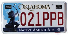 Oklahoma NATIVE AMERICA License Plate MINT condition - ARCHER INDIAN BOW ARROW