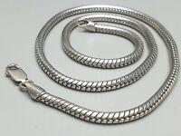 Massives 4mm im Durchm. dickes Schlangen Collier 925 Silber Italien 80th ü.40 Gr