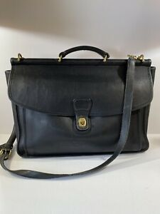 Authentic Coach Beekman Black Leather Unisex Briefcase Messenger Laptop Bag 5266