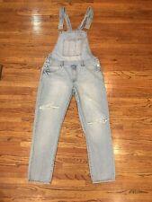 Forever 21 Men's Blue Jean Denim Bib Distressed Overalls Size XL Fits 36W x 30L