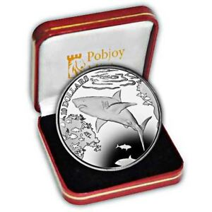British Virgin Islands 2016 Great White Shark Proof Silver Coin