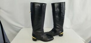 16'' Sergio Rossi Vero Cuoio Heel Plate Leather Riding Boots Women US 8.5 Eur 39