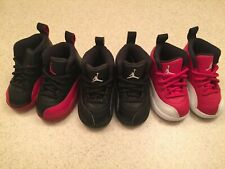 3 Pair Nike Air Jordan 12 Retro Flu Game BRED, Black/Black, Red/White TD Sz 5C