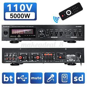 5000W AUX Power Amplifier bluetooth 5.0 Car&Home Stereo Audio 2 Channel FM Amp