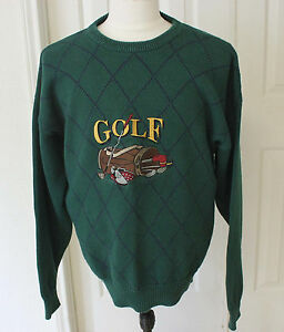 Lord Taylor Sportsmen Golf Sweater Mallard Green Golfer Size L
