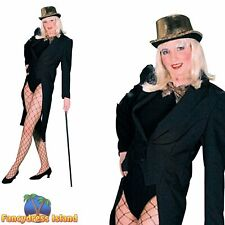 BLACK BURLESQUE GLAMOUR FEMALE TAILCOAT 10-14 womens ladies fancy dress costume