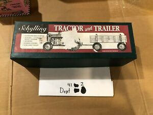 VINTAGE SCHYLLING TRACTOR AND TRAILER WIND-UP TIN TOY IN BOX with wind up key