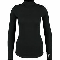 CALVIN KLEIN Women's Long Sleeve Wool Blend Turtleneck Top, Black, size XS
