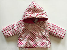 BNWT Baby Gap Fleece Lined Jacket / Coat Hooded 3-6 Months Pink Spot