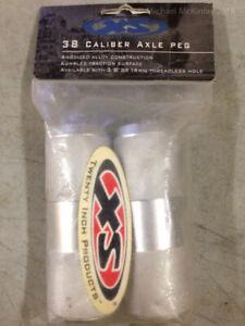NOS Schwinn XS 38 Caliber Mid-School BMX Ribbed 3/8 Axle PEGS - Knurled Alloy