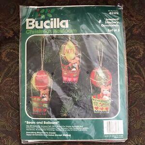 Bucilla Christmas Heirloom Felt ornament kit Bears And Balloons Set Of Three