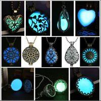 Hot!! Glow Steampunk Magic Locket Charm Women Glow In The Dark Necklace Pendant