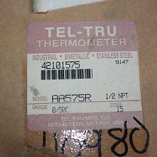 """TEL-TRU AA575R Industrial Bimetallic Thermometer 0-50 deg C 1/2"""" NPT STEM 15"""
