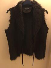 Ladies - Ellie Louise - Brown Fur Lined Suede Effect Gilet Waistcoat (Size S/M)