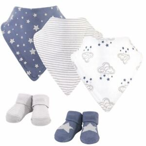Hudson Baby Bib and Sock 5pc Set, Cloud Mobile Blue 0-9 Months