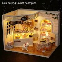 Dollhouse Miniature Furniture DIY Kit Wood Toy Cakes Cottage W/LED lights H T2S2