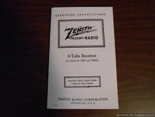 "1938 ZENITH RADIO 9-S-232 ""WALTON"" CHASSIS 5905 OPERATING INSTRUCTIONS (COPY)"